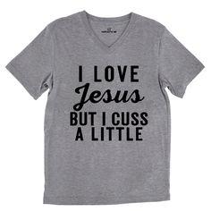 I Love Jesus But I Cuss A Little Tri-Blend Gray Unisex V-Neck Tee | Sarcastic Me