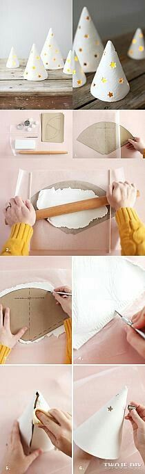 Diy air dry clay trees, punch star shaped holes abd add a candle! // best of the web: air-dry clay projects Diy Gifts For Christmas, Noel Christmas, Holiday Crafts, Christmas Decorations, Christmas Ornaments, Handmade Christmas, Christmas Lights, Clay Ornaments, Christmas Projects