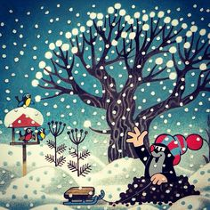 by zdeněk miler Christmas Illustration, Children's Book Illustration, Illustrations, Nina Klein, Quirky Art, Woodland Fairy, Children's Picture Books, Cute Little Things, Cool Cartoons