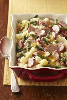 Easy dinner inspiration: cheesy brat casserole.