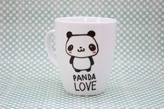 Coffee mug // Love panda // kawaii mug coffee por HandwrittenMugs