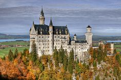 View from Marienbrücke Castle of Neuschwanstein, Hohenschwangau, Germany via Flickr by Santi RF