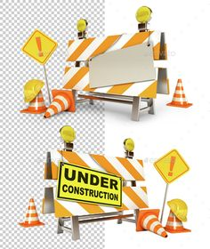 Under Construction Barrier by kharlamova_lv Under construction barrier. Blank sheet. Traffic cones. Road sign. Construction Helmet. Isolated on white background. High quality
