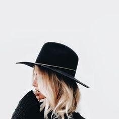 stiff brim black wool hat