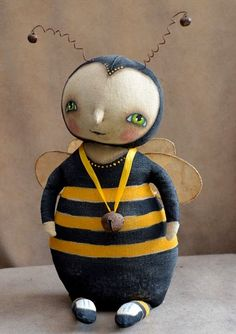 Outside the Box Primitives  primitive bumble bee doll