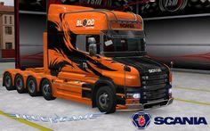 Scania T Longline Orange Tribal Skin для Euro Truck Simulator 2 - http://truckgame.ru/eurotrucksimulator2/scania-t-longline-orange-tribal-skin-dlya-euro-truck-simulator-2/