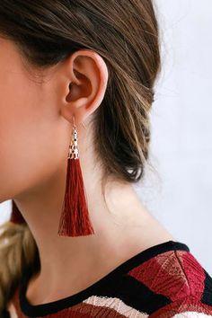 Bellamy Burgundy Tassel Earrings