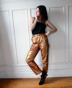 Gold Leather High Waisted  Pants . by MarmaladeNYC on Etsy