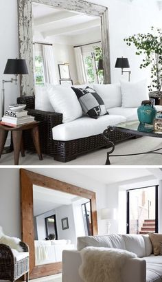 Love, love the huge mirror for behind the couch in living room