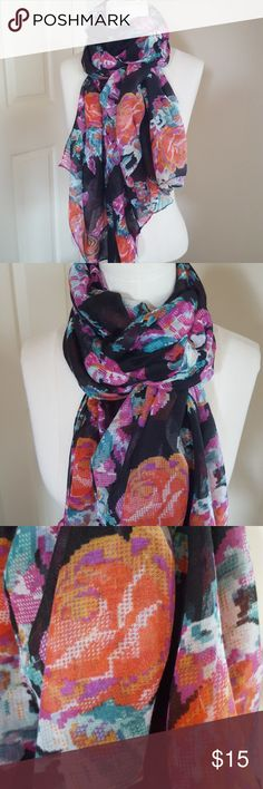 """Black floral print scarf Floral print in shades of red, orange, magenta and teal on a black background. Lightweight, and HUGE!! 72"""" x 76"""" If you like to bundle up in a great big scarf, this is the one for you. Scarf in beautiful condition. Accessories"""