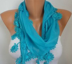 Blue Scarf   Cotton Scarf    Cowl Women by fatwoman on Etsy, $15.00
