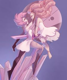 New fan art of Rose shattering pink diamond R.I.P the fan theory that Rose was…