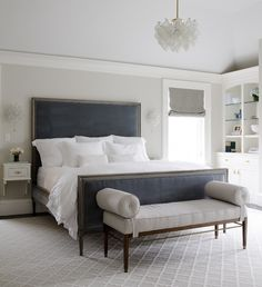Dark Blue Velvet Headboard in Neutral Bedroom