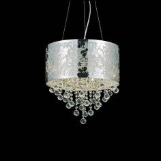 Chandeliers and Pendants for Home Improvement: Nature Modern Laser Cut Drum Shade Crystal Round Pendant Chandelier Design ~ Chandeliers Inspiration