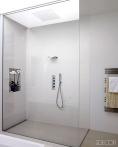 loveisspeed....... Interesting waterfall fixture, love the orchid in the wall niche and the ceiling rainfall shower head