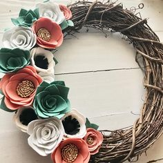 A bit of coral glitz for ya!  •  •  •  •  #feltflowerwreath #grapevinewreath #buyhandmade #shopsmall #succulentlove #succulents #feltdecor #feltsucculents #feltflowers #feltflorist #feltcraft #homedecor #homesweethome #handmadewithlove #craftingischeaperthantherapy #makermama #madewithlove #madewithmichaels #doordecor #porchdecor #wreathlove #craftymom #gluegunsout #winterglam #glamwreath
