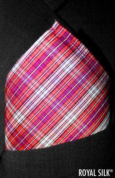 Full-size. Broad Earth Stripes Taffeta Silk Pocket Square by ROYAL SILK