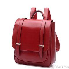Double Buckle Leather Shoulder Bag Backpack