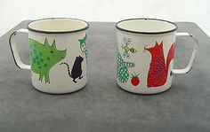 1960s enamel Arabia Finland children's mugs.