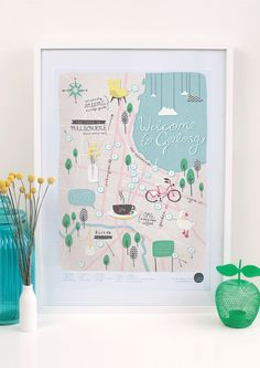 Image of 'Welcome To Geelong' -  llustrated Map Poster A2