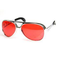 Limited Edition Large Silver TCB Elvis Celebrity Aviator Sunglasses Color Lens