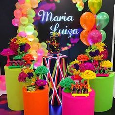 Image may contain: flower and text Neon Birthday, 13th Birthday Parties, Birthday Party For Teens, Sweet 16 Birthday, Birthday Ideas, Glow In Dark Party, Glow Stick Party, 80s Party Decorations, Deco Ballon