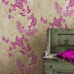 Paisley Pink Wallpaper. A designer wallpaper by the fabulously talented BarnebyGates design team. Hot Paisley pink on tea stain effect background. This luxury wallpaper is inspired by a beautiful collection of antique fabrics from India. The pretty paisley features a super bright print on a softly aged background. Think neon meets vintage chic. http://www.wallpaperking.co.uk/barneby-gates-wallpaper/3520-paisley-pink-wallpaper-bg0800201.html #paisley-wallpaper #vintage-wallpaper…