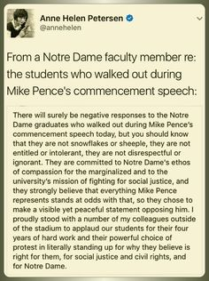 From a Notre Dame faculty member re: The students who walked out on Mike Pence's commencement speech
