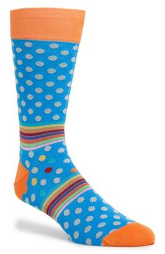 Men's Bugatchi Pattern Cotton Blend Socks - Blue/green