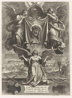 Anonymous | Engelen tonen het sudarium, Anonymous, Philips Galle, 1570 - 1612 | Twee huilende engelen houden het sudarium (veronicadoek) met het gelaat van Christus omhoog. Onder knielt een engel. Aan weerszijden van deze engel liggen de passiewerktuigen. Op de achtergrond de drie kruisen en de graftombe van Christus. Onder de engel een éénregelig onderschrift in het Latijn uit Jes. 53.