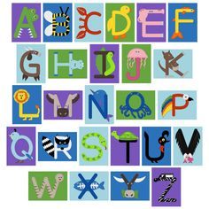 ABC crafts for uppercase letters color guide