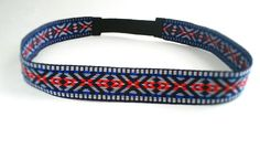 Hippie Tribal Head band with cobalt blue, red, and gray over black- bohemian head band. $10.00, via Etsy.