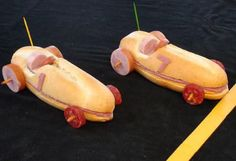 Cute idea for food. Race Car Sandwiches - You can substitute the toothpicks with pretzel/carrot sticks (safer for little ones). Disney Cars Birthday, Cars Birthday Parties, Birthday Kids, Sandwich Original, Amazing Food Decoration, Race Car Party, Race Cars, Nascar Party, Food Humor