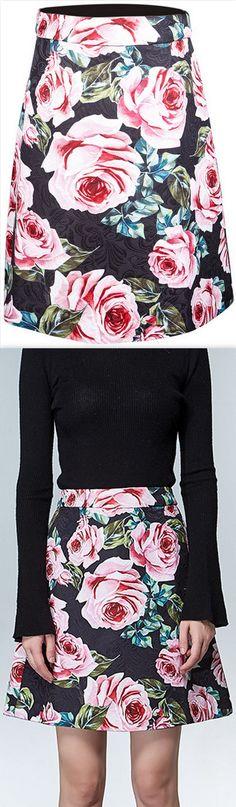 Black Jacquard Rose-Print Mini-Skirt