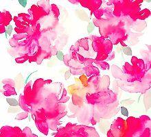 Pink watercolour peonies by jen28nart
