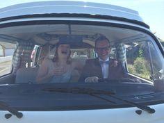 VW camper van wedding in Devon. Devon Holidays, North Devon, Vw Camper, Weddings, Couples, Vehicles, Happy, Wedding, Couple