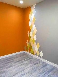 Wall Painting Living Room, Wall Painting Decor, Paint Colors For Living Room, Bedroom Wall Designs, Bedroom Wall Colors, Home Room Design, House Design, Diy Room Decor Videos, Geometric Wall Paint