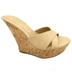 Womens Fashion Cork Wedge Slip On Platform High Heel Sandal -- This is an Amazon Affiliate link. You can find out more details at the link of the image.