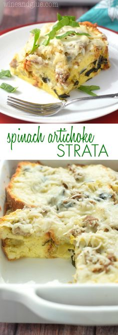 This Overnight Spinach Artichoke Strata makes for a delicious breakfast casserole ready to throw in the morning!