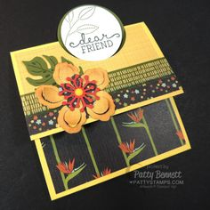 """Stampin Up cards - fun fold with 2"""" circle punch.  Botanicals stamp set, paper and framelits cards. by Patty Bennett at pattystamps.com"""