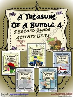 A Treasure Of A Bundle #4 : Five Activity Book Units For 2nd Grade Common Core from Irene Hines on TeachersNotebook.com (458 pages)  - A Treasure Of A Bundle #4 : Five Different Activity Book Units For Second Grade Common Core Aligned These activities work well with the Second Grade Treasures Series. It includes five story units: * Head, Body, Legs : A Story From Liberia ** Officer Buckl