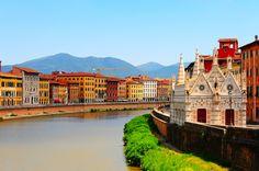 Embankment of the River Arno in the Italian city of Pisa