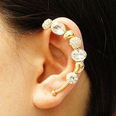Crystal Elven Ear Cuff -  Swarovski crystal ear cuff-  No piecing ear cuff - Elven ear cuff by Shinningshop on Etsy