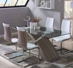 Mesa de comedor de comedor tapa de cristal