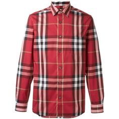 Burberry checked shirt ($299) ❤ liked on Polyvore featuring men's fashion, men's clothing, men's shirts, men's casual shirts, red, mens red checked shirt, mens checked shirts, mens shirts, mens checkered shirts and mens red shirt