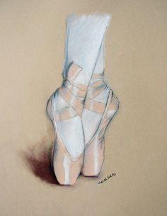 Ballet Shoes. Original Pastel Drawing. 11x14.