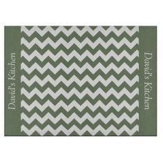 Camouflage Green Chevron Glass Cutting Board ............This design features a Camouflage Green Chevron pattern. The TEXT on both sides (left and right) can be customized with your own name. Check out my store for more colors.