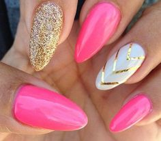 Pink and gold/silver stiletto square nails with white and gold/silver ring finger from CrystalNailBoutique on Etsy
