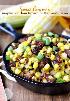 Sweet+Corn+with+Maple-Bourbon+Brown+Butter+and+Bacon+is+a+mouthwatering,+gluten-free+15-minute+side+dish+bursting+with+layers+of+flavor!+#glutenfree+|+iowagirleats.com