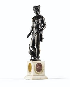 A VENETIAN, CIRCA 1600, BRONZE FIGURE OF JUNO, CIRCLE OF GIROLAMO CAMPAGNA; ON A MARBLE BASE.